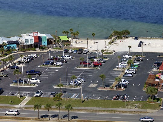 Proposed shrimp basket location on Pensacola Beach.  This view is from the Hilton Hotel and Convention Center across the street.