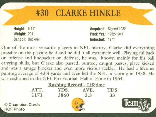 Packers Hall of Fame player Clarke Hinkle