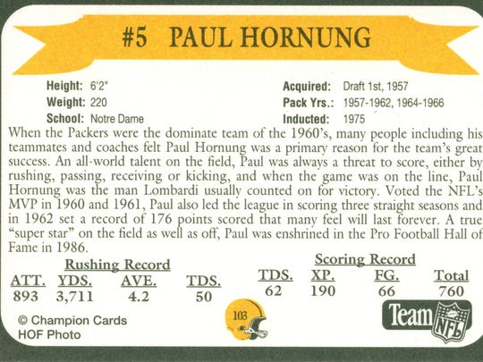 Packers Hall of Fame player Paul Hornung