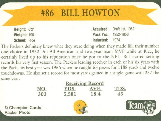 Packers Hall of Fame player Bill Howton