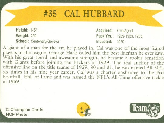 Packers Hall of Fame player Cal Hubbard