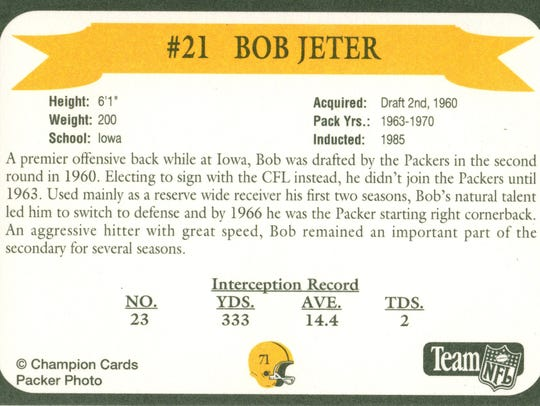 Packers Hall of Fame player Bob Jeter