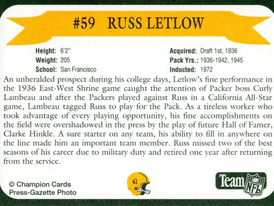Packers Hall of Fame player Russ Letlow