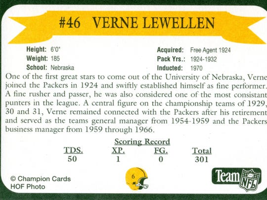Packers Hall of Fame player Verne Lewellen
