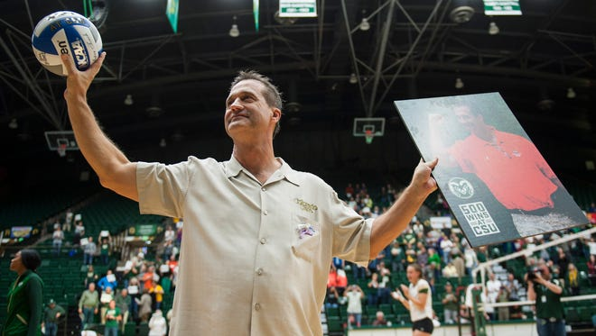 Tom Hilbert acknowledges applause from fans at Moby Arena on Oct. 13 after winning his 500th match as CSU's volleyball coach.