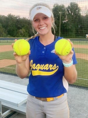 Whitney Wells, a sophomore Jaguar, hit her first two homeruns of her varsity career in these two games.