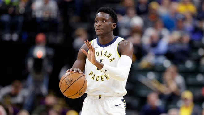 Indiana Pacers guard Victor Oladipo (4) brings the ball up court against the Charlotte Hornets during the second half of an NBA basketball game in Indianapolis, Monday, Jan. 29, 2018. The Pacers defeated the Hornets 105-96.
