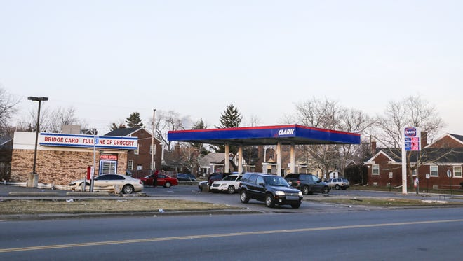 Detroit police said a motorist is in critical condition after being beaten by a large group of people on the city's east side after his truck struck an 10-year-old boy near this Clark gas station in Detroit on April 2, 2014.