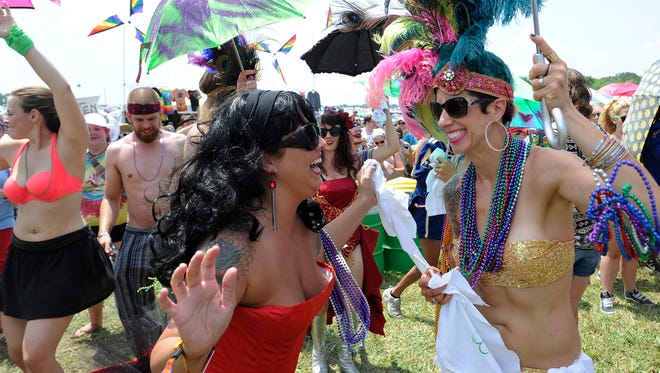 Bonnaroo's  kick off parade started in the campground at ended at the entrance on Thursday June 11, 2015.