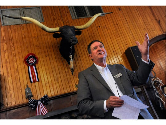 In this file photo, District 71 representative Stan Lambert speaks during a Republican meet-and-greet luncheon at Stamford's Texas Cowboy Reunion Old Bunkhouse in October 2017. Lambert learned his new committee assignments Wednesday for the 86th Legislative session.