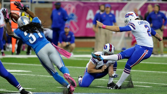 Buffalo Bills kicker Dan Carpenter (2) boots a game-winning field goal in the fourth quarter against the Lions on Sunday.