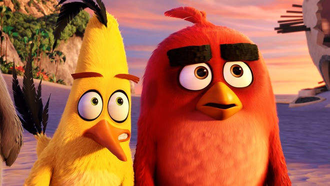 A scene from the upcoming animated film 'The Angry Birds Movie,' showing the characters Chuck, voiced by Josh Gad, and Red, voiced by Jason Sudeikis.