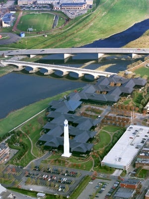 A bird's-eye view of Corning Inc. headquarters along the Chemung River in Corning.