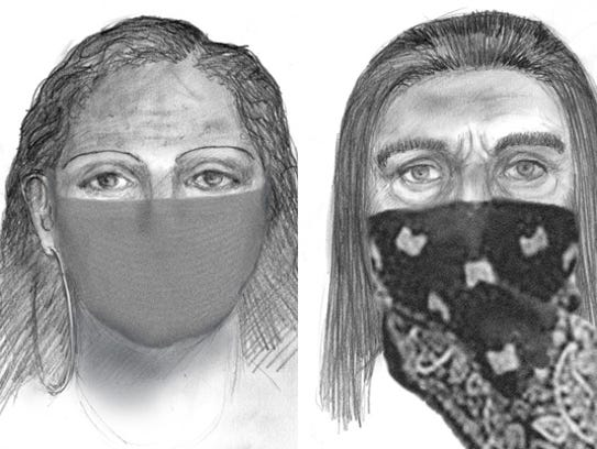 The FBI released sketches of the two suspects in the