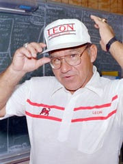 Legendary Leon coach Gene Cox, seen here on Aug. 19, 1988, won two state titles in 1969 and 1974, and eventually retired in 1990.