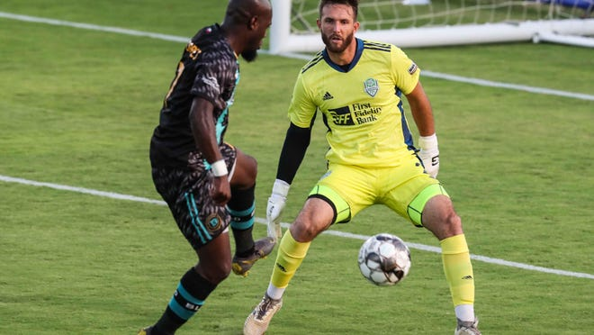 Austin Bold's Billy Forbes cushions a pass in front of OKC Energy goalkeeper Carl Cochran during the teams' matchup in July. Forbes leads the team with six goals this season.