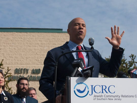 Sen. Cory Booker, D-NJ, speaks at the Katz Jewish Community Center Monday on efforts to address the decline in New Jersey's federal security funding for religious centers.
