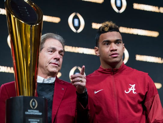 Alabama head coach Nick Saban and quarterback Tua Tagovailoa