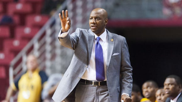 Dec 17, 2012; Philadelphia, PA, USA; Alcorn State Braves head coach Luther Riley during the first half against the Temple Owls at the Liacouras Center. Temple defeated Alcorn State 63-46. Mandatory Credit: Howard Smith-USA TODAY Sports