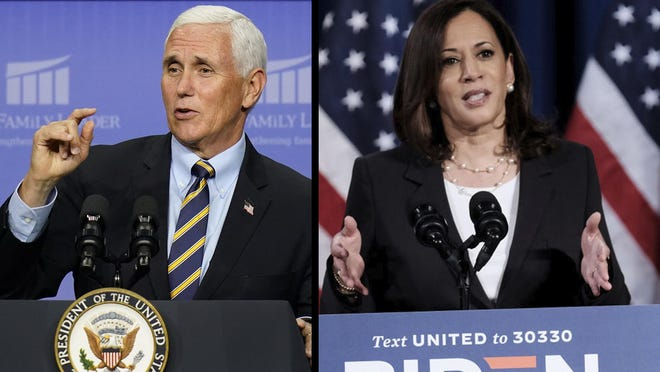 Vice President Mike Pence speaks at an event Thursday in Des Moines, Iowa. Democratic Vice Presidential nominee Sen. Kamala Harris delivers remarks during a campaign event on August 27.