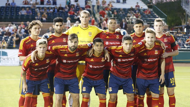Arizona United soccer team before hosting Chula Vista F.C. during the U.S. Open Cup second-round game at Scottsdale Stadium May 20, 2015.