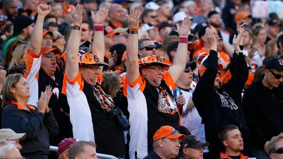 Bengals fans show their spirit during Sunday's game against the Ravens.
