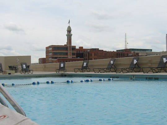 The rooftop pool at the Rochester Radisson Riverside. photo provided by Rochester A-List