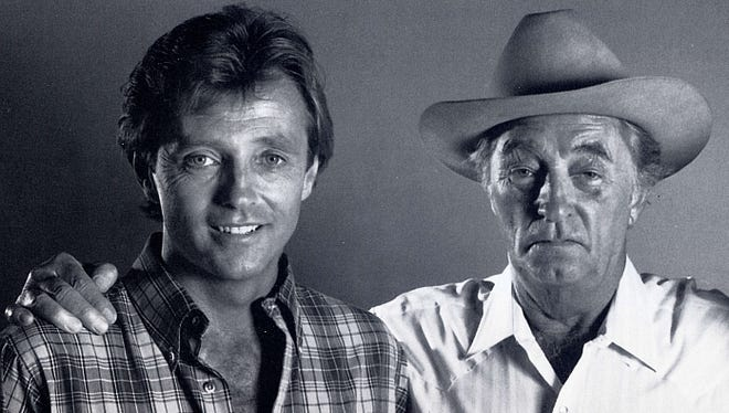 Chris and Robert Mitchum in 1985