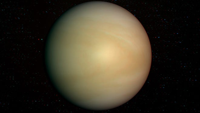3D solar system series: Venus with stars in the background.