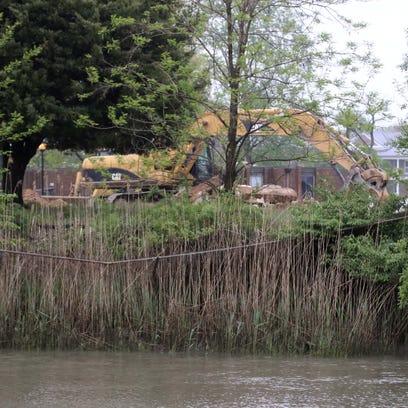 Construction along the Branch Canal that runs through