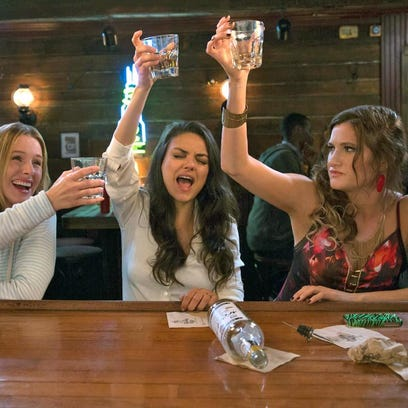 """From left, Kristen Bell, Mila Kunis and Katherine Hahn are on their best bad behavior in the raunchy comedy """"Bad Moms,"""" opening Friday."""