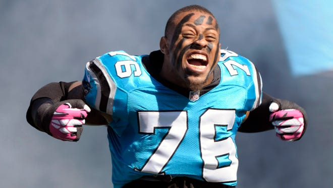 Carolina Panthers defensive end Greg Hardy (76) before the game against the St. Louis Rams at Bank of America Stadium.