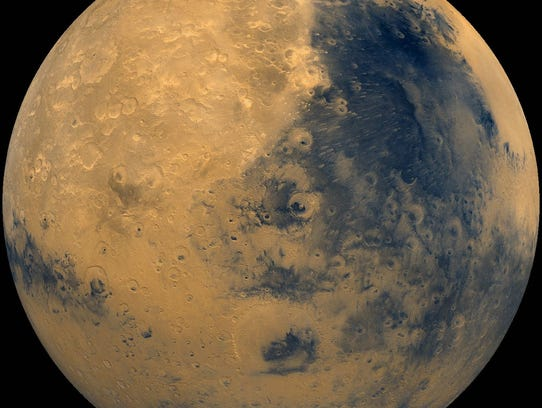 Mars is currently cruising eastward through the northern