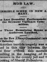Dec. 16, 1868, The Indiana Herald headline that tells of the lynching of the Reno brothers in New Albany.