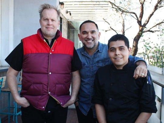 Chef Aaron Chamberlin, artist Gennaro Garcia and chef