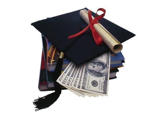 Graduation cap, money and books