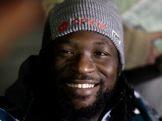 Philadelphia Eagles running back LeGarrette Blount takes part in a media availability for the NFL Super Bowl 52 football game Thursday, Feb. 1, 2018, in Minneapolis. Philadelphia is scheduled to face the New England Patriots Sunday. (AP Photo/Eric Gay)
