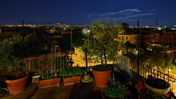 The evening balcony view from the Trastevere apartment.
