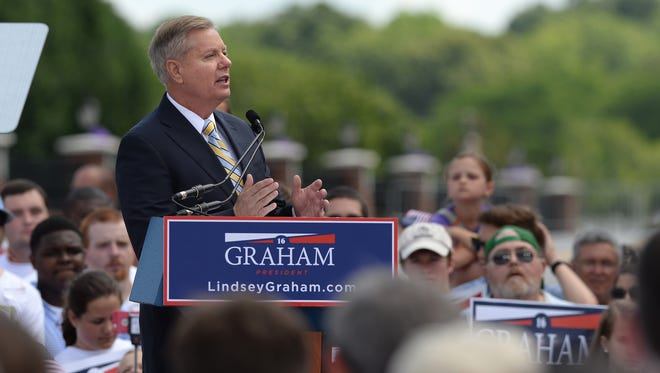 Lindsey Graham announces his presidential campaign in his hometown of Central, S.C., on Monday,
