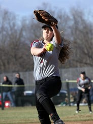 Bella Reese delivers a pitch for Elmira against Owego