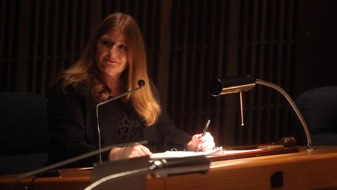 New Castle County Council President Karen Hartley-Nagle presides over a recent council meeting.