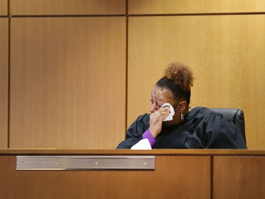 36th District Judge Lydia Nance-Adams listens to the