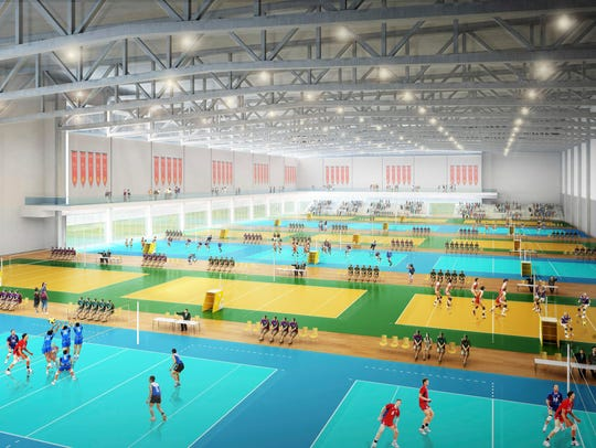 A field house planned as part of the Mesa Plays complex was eliminated for now.