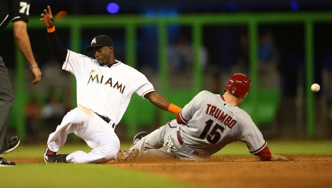 Arizona Diamondbacks Mark Trumbo (15) steals second on a late, wide throw to Miami Marlins short stop Adeiny Hechavarria during the sixth inning of a baseball game in Miami, Thursday, Aug. 14, 2014. The Marlins won 5-4 in the 10th inning.