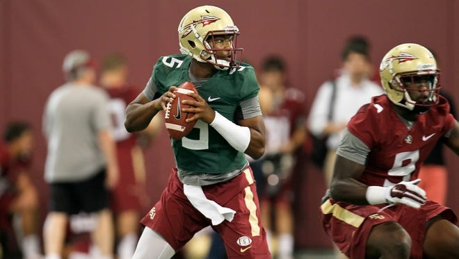 Quarterback Jameis Winston Monday during Florida State's first fall practice.