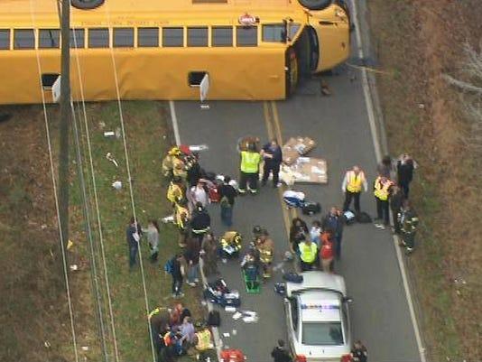 School Bus Overturnes