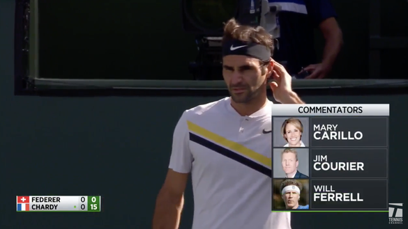 Will Ferrell cracked up Tennis Channel commentators as Roger Federer faced Jeremy Chardy