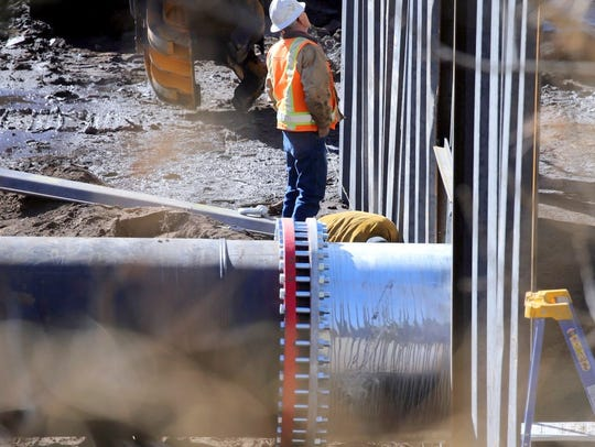 The diversion pipeline is about 4-feet in diameter