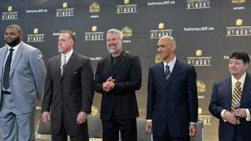 Feb 6, 2016: Pro Football Hall of Fame Class of 2016 enshrinees (from left) Orlando Pace and Kevin Greene and Brett Favre and Tony Dungy and Eddie DeBartolo Jr. pose at press conference to announce the Pro Football Hall of Fame Class of 2016 at Bill Graham Civic Auditorium.
