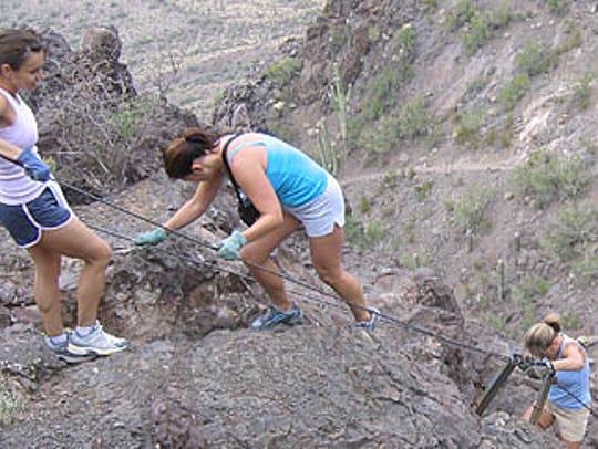 Trails dot the landscape around Picacho Peak, including